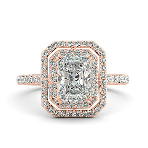 Radiant Cut Charles & Colvard Forever One Moissanite & Round Cut Diamond Engagement Double Halo Pave Ring 14k White Rose Yellow Gold 2.70 ct ()