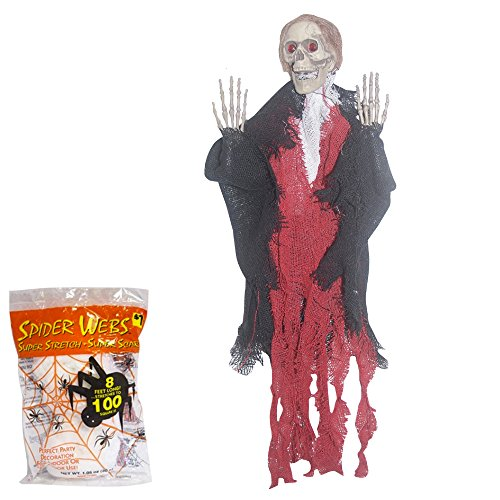 Halloween Decoration Scary Hanging Grim Reaper Prop with Spider Webbing 18 Inches Red and Black