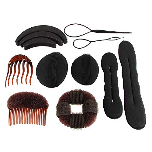 Chrontier Hair Styling Set Bun Ponytail Making Kit Volume Up Thicker Hair Accessories Fast Spiral Hair Donut Updo Shaper Tool Pick Comb French Magic Twist Sponge Roller Women Girls Ballet Daily Brown