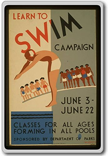 Learn To Swim Campaign, Classes For All Ages Forming In All Pools Vintage Fridge Magnet