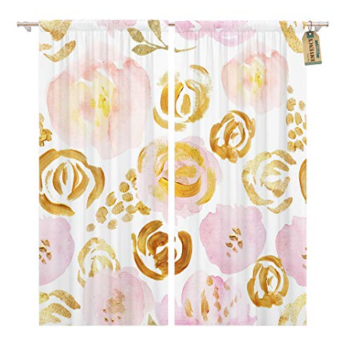 Golee Window Curtain Watercolor Gold Garden Rose Floral Presentation Brush Fall Paint Home Decor Rod Pocket Drapes 2 Panels Curtain 104 x 63 inches