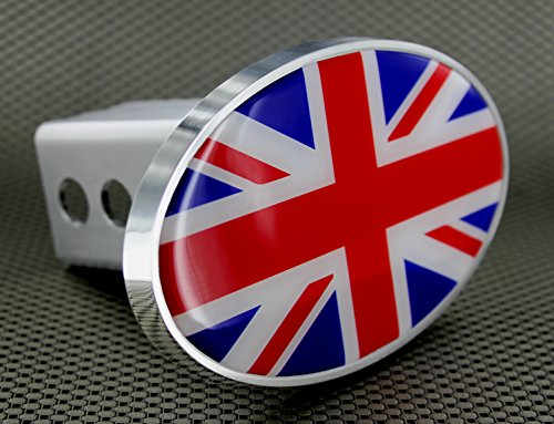"Oval Great Britain British United Kingdom Flag Tow Hitch Billet Aluminum Trailer Hitch Cover Fits 2"" Receivers"