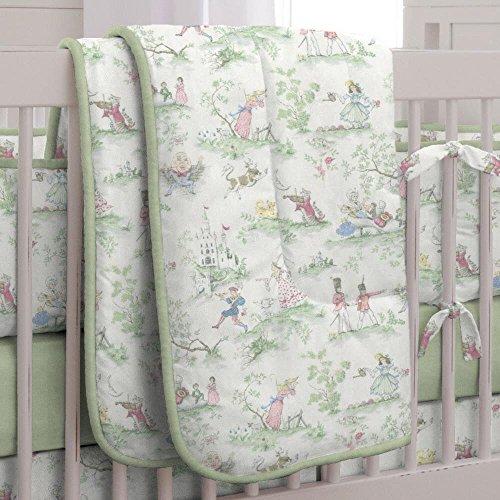 Carousel Nursery Rhyme Toile Sage Crib Comforter