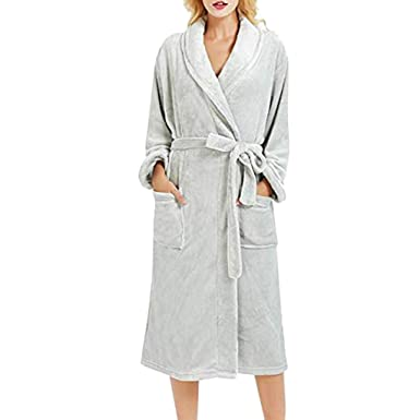 3ab7e00d61 Women Towelling Robe Winter Plush Lengthened Shawl Bathrobe Terry Towel  Shawl Ladies Collar Bathrobe Dressing Gown
