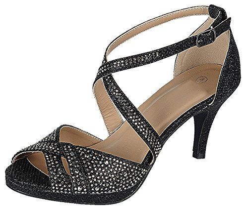 - Cambridge Select Women's Peep Toe Crisscross Ankle Strappy Glitter Crystal Rhinestone Mid Heel Sandal (8 B(M) US, Black)