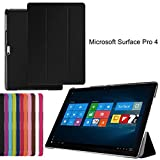 Brain Freezer J Classic Premium Luxury PU Leather Flip Stand Back Case Cover for Microsoft Surface Pro 4(Black)
