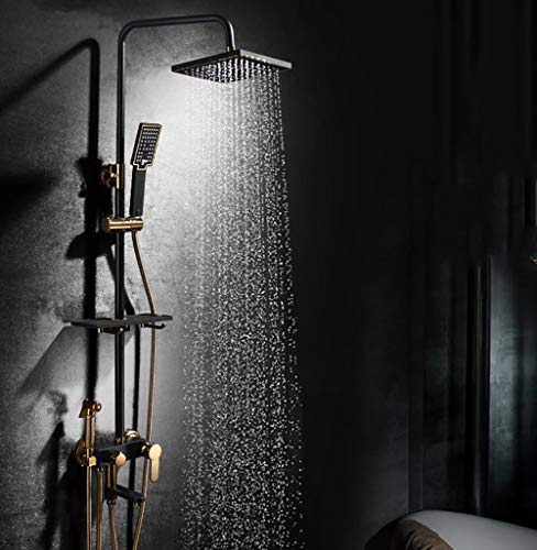 Shower Personality Ideas Black Brass Fittings, Wall-Mounted Top Spray Waterfall Shower Sets, High-end Family Hotel Faucet, Hand Shower Adjust Up and Down Single Handle Hot and Cold Water 3-h