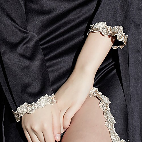 Mujer Pijama Kimono Satén Seda Ropa De Dormir Camisón Negro