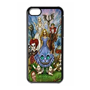 Yearinspace Alice in Wonderland IPhone 5C Case Alice in Wonderland, Cute Design Alice in Wonderland, {Black}