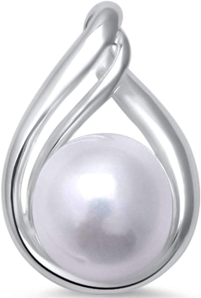 Princess Kylie Synthetic Pearl Teardrop Design Pendant Sterling Silver