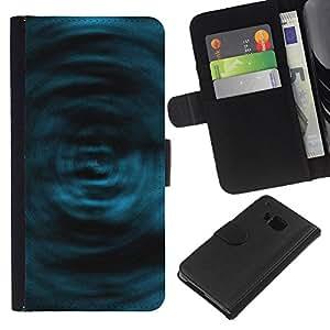 KLONGSHOP // Tirón de la caja Cartera de cuero con ranuras para tarjetas - El azul remolina - HTC One M7 //