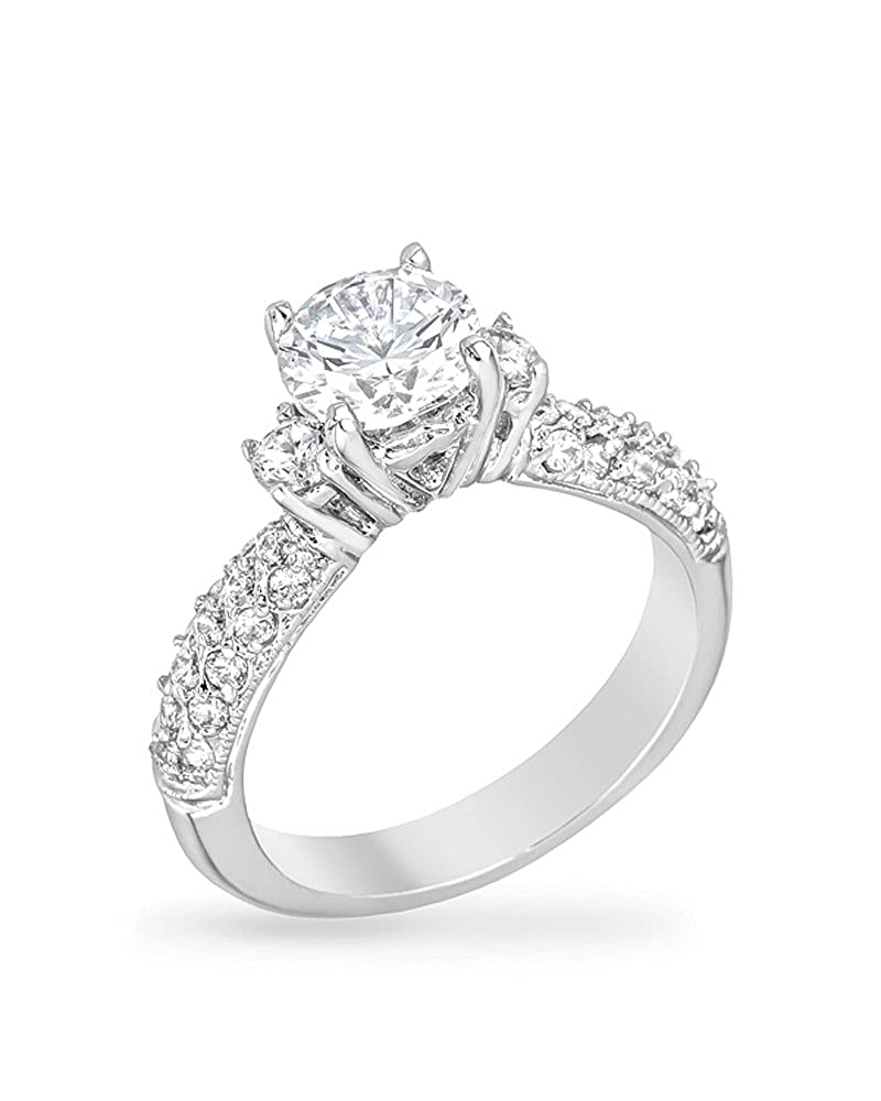 Genuine Rhodium Plated Classic Bridal Ring with Round Cut Clear Cubic Zirconia Kate Bissett icon KB-07482R-C01