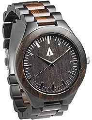 Treehut Mens Ebony Wooden Black Stainless Steel Watch Quartz Analog with Qua...