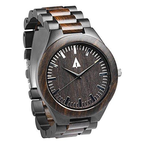 Treehut Men's Ebony Wooden Black Stainless Steel Watch Quartz Analog with Qua...