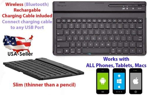 Universal Bluetooth Wireless Keyboard Slim Model for Mac, Android, Phone and Tablet (Best Bluetooth Keyboard For Android Phone)