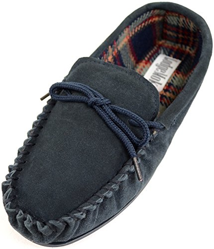 Mens Traditional Genuine Suede Leather Moccasin / Slippers with Rubber Sole - Navy - US 11