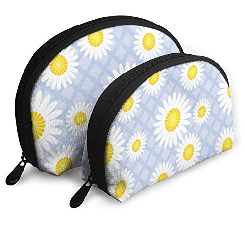 Taslilye White Daisies On A Purple Plaid Personalized Portable Clutch Bag Shell Shape Large One for Ladies Cosmetics Storage ()