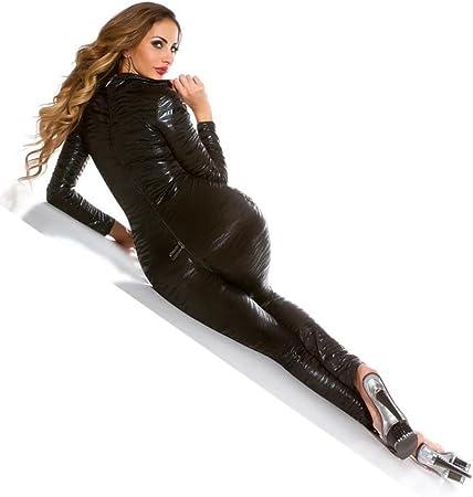 SOFTSAIL FL04 Leggings en simili cuir pour femme avec bande motif l/éopard