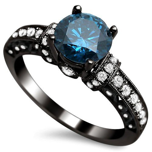 1 35ct Blue Round Diamond Engagement Ring 14k Black Gold Rhodium Plating Over White Gold Vintage Style Clothing Shoes And Jewelry Engagement Rings Jewelry Novelty And More Shops Wedding And Engagement Women