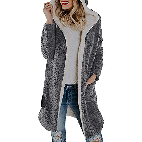 Forthery Women Coats Clearance Winter Warm Fleece Hooded Cardigan Outwear Jacket(Grey, X-Large) by Forthery