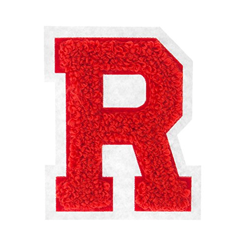 R - Red on White - 2.5 Inch Heat Seal Chenille Varsity Letter