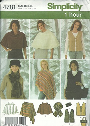 Simplicity 4781BB Sewing Pattern Misses 1 Hour Pattern Poncho Bag Vest Size L-XL ()