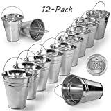 Kidsco 12-Pack Large Galvanized Metal Buckets With Handle 5'' X 4 1/2 - Unique Goody Baskets, Great For Party Favors, Party Accessories And Decoration - By