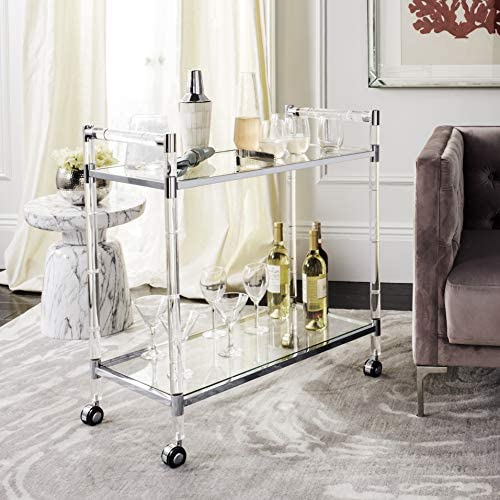 Safavieh Home Collection Duval Acrylic Trolley Bar Cart, Clear Silver