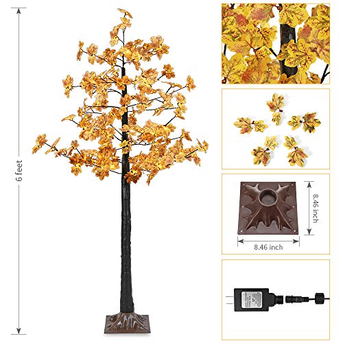 Artificial LED Maple Tree Light, LightMe 6FT 120 Warm White LED Lighted Maple Tree Lamp for Office, Home Patio, Garden, Festival, Party, Wedding, Christmas, Halloween Decor Indoor Outdoor (Bee Yellow) by LightMe (Image #1)