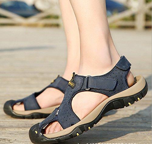 Playa Slip Chanclas Zapatos Respirables Verano Sandalias Hombres Cuero de Ocasionales de de para Zapatillas Beige Exterior de wY4AqSz