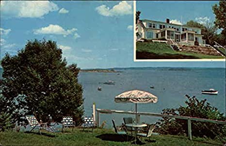 On The Water Motel & Inn Falmouth Foreside, Maine Original Vintage Postcard