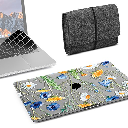 GMYLE MacBook Pro 13 inch Case 2018 2017 2016 Release A1989/A1706/A1708, Plastic Hard Shell, Fabric Storage Bag Travel Pouch, Keyboard Cover Compatible Newest Mac Pro 13 Inch - Crystal Floral -