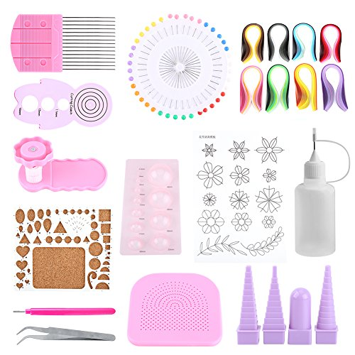 23 in 1 Paper Quilling Set, 800 Pcs Gradient Color Paper Strips Width 5mm and 12 Quilling DIY Tools for Paper Craft Rolling Kit