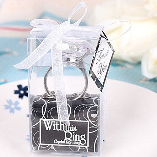 Chinatera Engagement Ring Keychain Key Chain Wedding Favors Bridal Shower Favors (White)