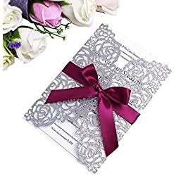PONATIA 25 Pieces/Lot Laser Cut Hollow Rose With Ribbon Wedding Invitation Card Bridal Shower Engagement Birthday Graduation Invitation (Slivery Glitter)