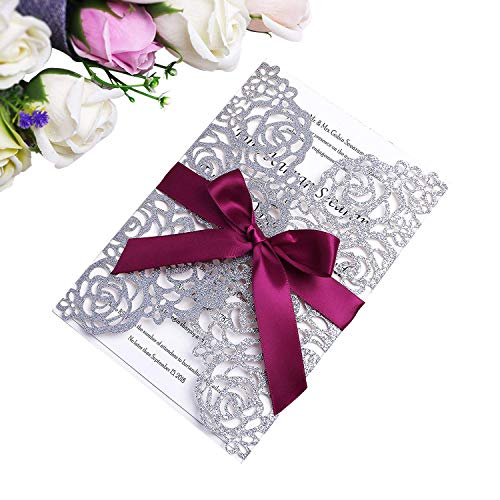 PONATIA 25 Pieces/Lot Laser Cut Hollow Rose With Ribbon Wedding Invitation Card Bridal Shower Engagement Birthday Graduation Invitation (Slivery (Rose Wedding Invitation)
