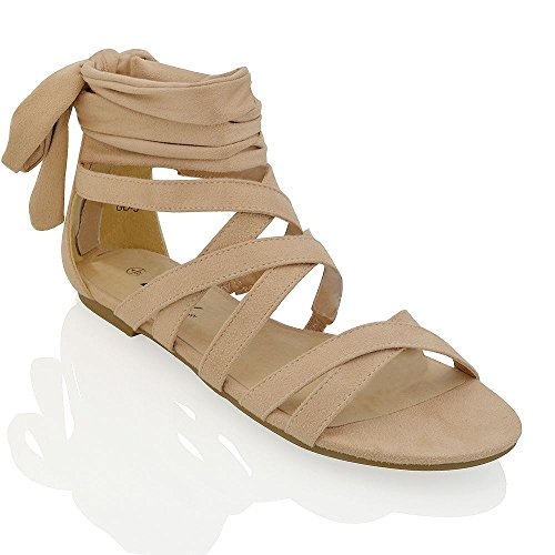 Essex Glam Gamuza Sintética Sandalias planas estilo gladiador con cordones y tiras al tobillo Desnudo Gamuza Sintética