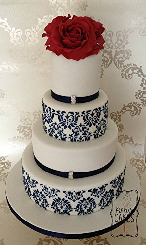 Wedding Damask cake stencils set of 3 pieces air brush - Royal icing