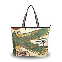 INGBAGS Fashion Large Tote Shoulder Bag America Ancient Egyptian Art Pattern Women Ladies Handbag M