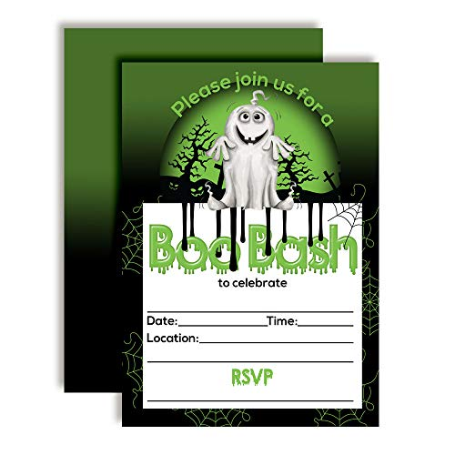 Green Slime Halloween Ghost Boo Bash Party Invitations,