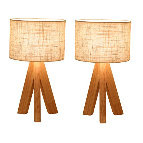 Ivalue Dimmable Wooden Table Lamps with Fabric Shade Tripod Nightstands Lamp 3 Legs Bedside Desk Lamp Set of 2 for Bedroom Living Room College Dorm -