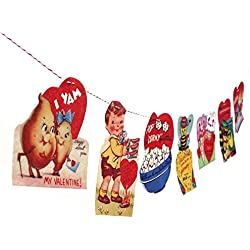 Handmade Vintage Valentine Card Garland 2 - photo reproductions on felt - anthropomorphic Valentine cards - Valentine pun cards