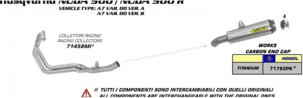 AR de 71458mi UVM Arrow Collecteur d/échappement sans Cat dans F Husqvarna Nuda 900/i.e