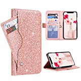 "BENTOBEN Wallet Case for iPhone Xs Max 6.5"", Fashion Glitter PU Leather Credit Card Holder Cash Pocket Kickstand Flip Folio Protective Durable Girl Purse Cover for Apple iPhone Xs+ Max, Rose Gold"