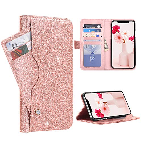 """BENTOBEN Wallet Case for iPhone Xs Max 6.5"""", Fashion Glitter PU Leather Credit Card Holder Cash Pocket Kickstand Flip Folio Protective Durable Girl Purse Cover for Apple iPhone Xs+ Max, Rose Gold"""