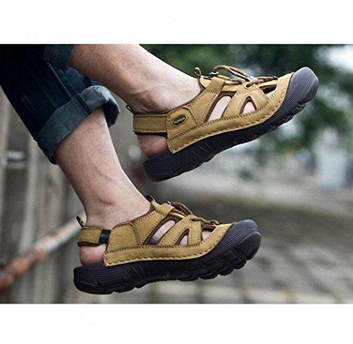 strato di 2017 primo traspirante di Estate pelle Khaki sandali moda cuoio maschile all'aperto sandali gIqWSZ