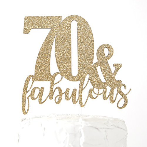 NANASUKO 70th Birthday Cake Topper - 70 & fabulous - Premium quality Made in (Fabulous Chipboard)