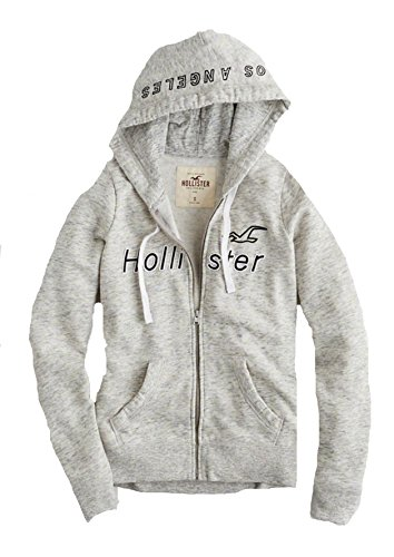 Hollister Womens Hoodie Sweatshirt  Gray Full Zip 2018  M