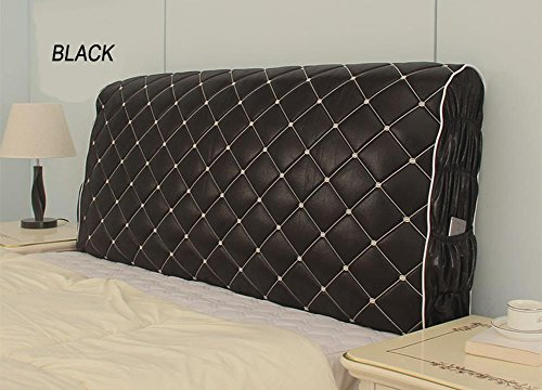 (WOMACO Bed Headboard Slipcover Protector Stretch Solid Color Soft Bedroom Decorative Cover - Black, 78.7