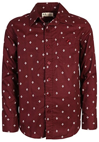 p.s. from aeropostale Boys Long Sleeve Button Down Shirt, Maroon Dots, Size 10'
